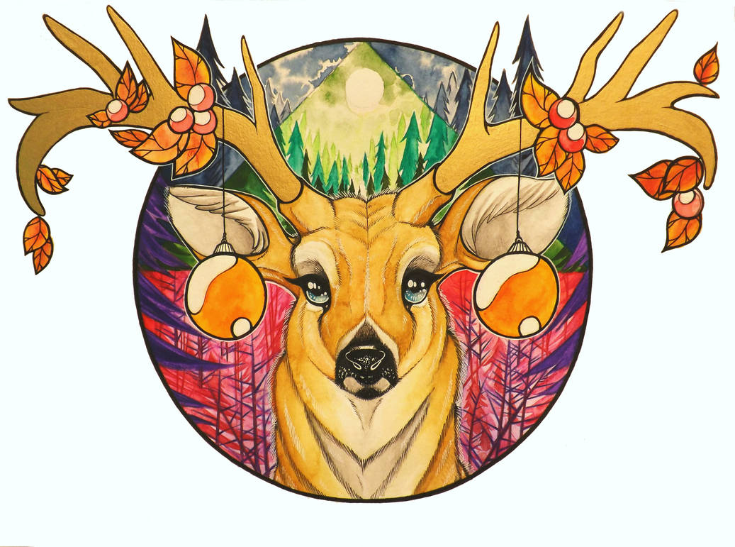 Deer Holiday Card by InkWitchArts