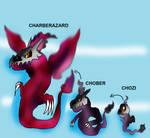Fakemon Chozi and Chober and Charberazard by nirpoke1