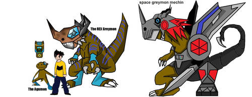 The Agumon The Rex Greymon AND Space Greymon m by nirpoke1
