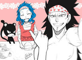 Gajeel, Levy and Lily - selfie