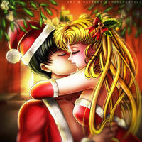 Sailor Santa Love (Mamoru and Usagi) by kgfantasy