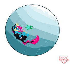 Diving Down in the Dark Blue Rex