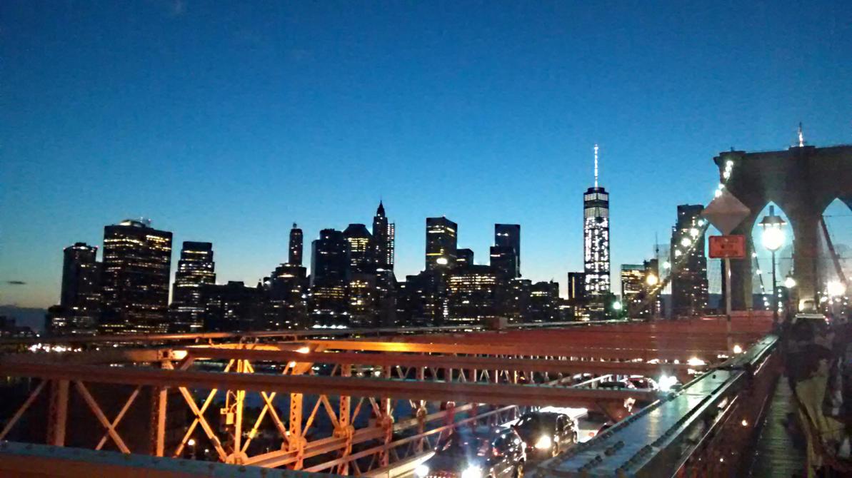 Brooklyn Bridge and Manhattan Skyline by Aristodes
