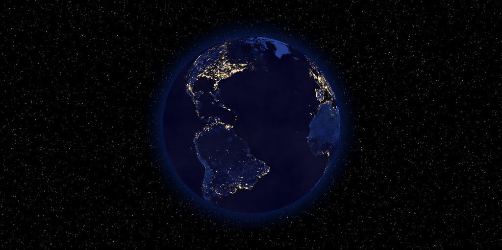 Earth at night 2 by Aristodes