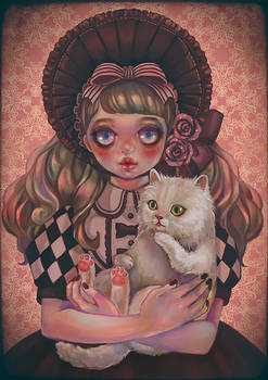 Doll and cat