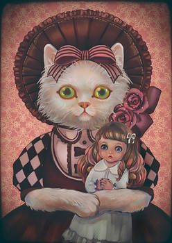 Cat and doll