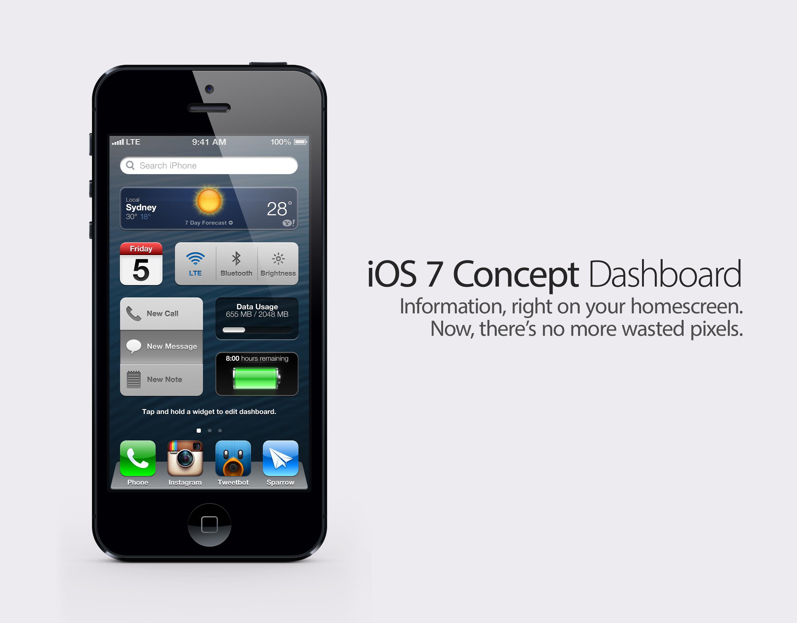 iOS 7 Concept: Dashboard