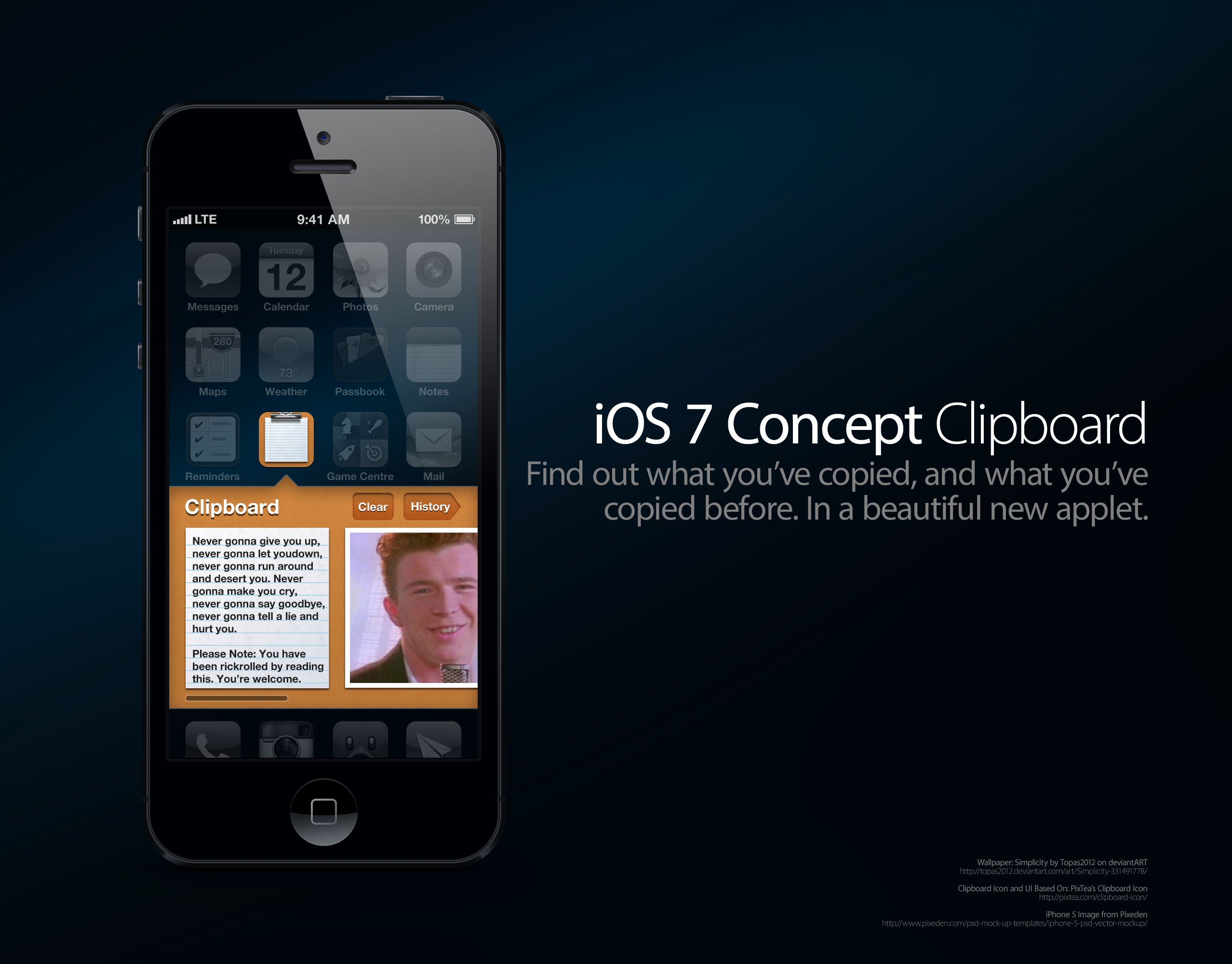 iOS 7 Concept: Clipboard Applet by theIntensePlayer