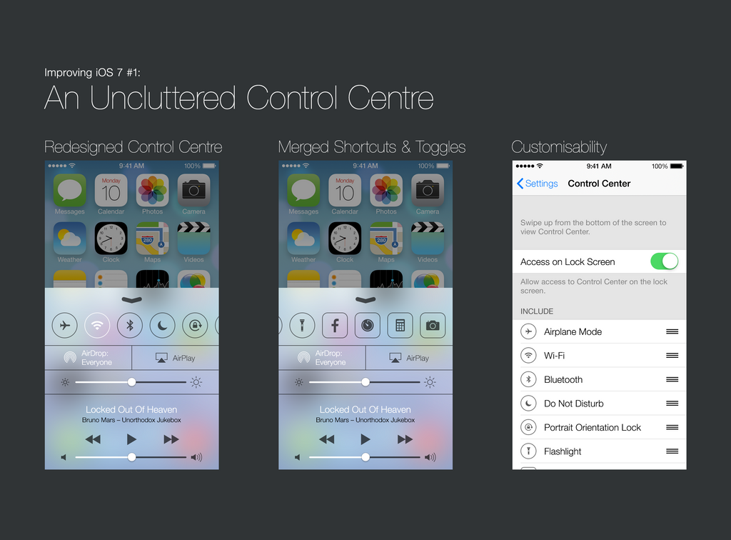 Improving iOS 7 #1: An Uncluttered Control Centre
