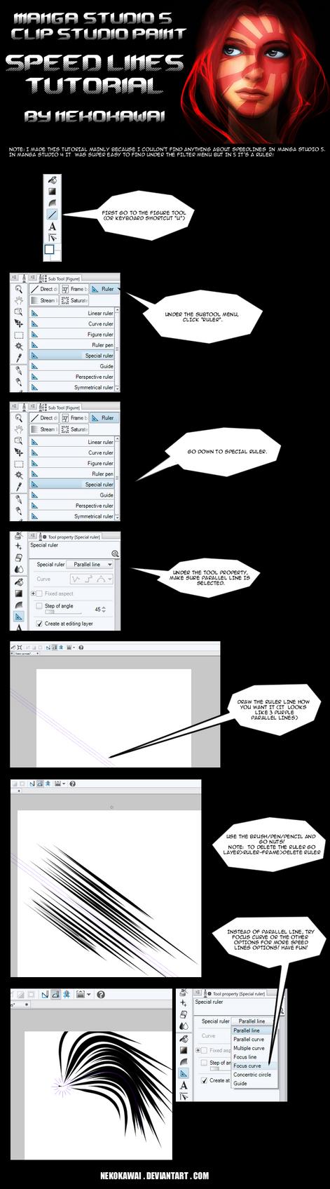 Speedlines tutorial for Manga Studio 5 by nekokawai