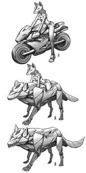 The Kitsune bike morph concept art