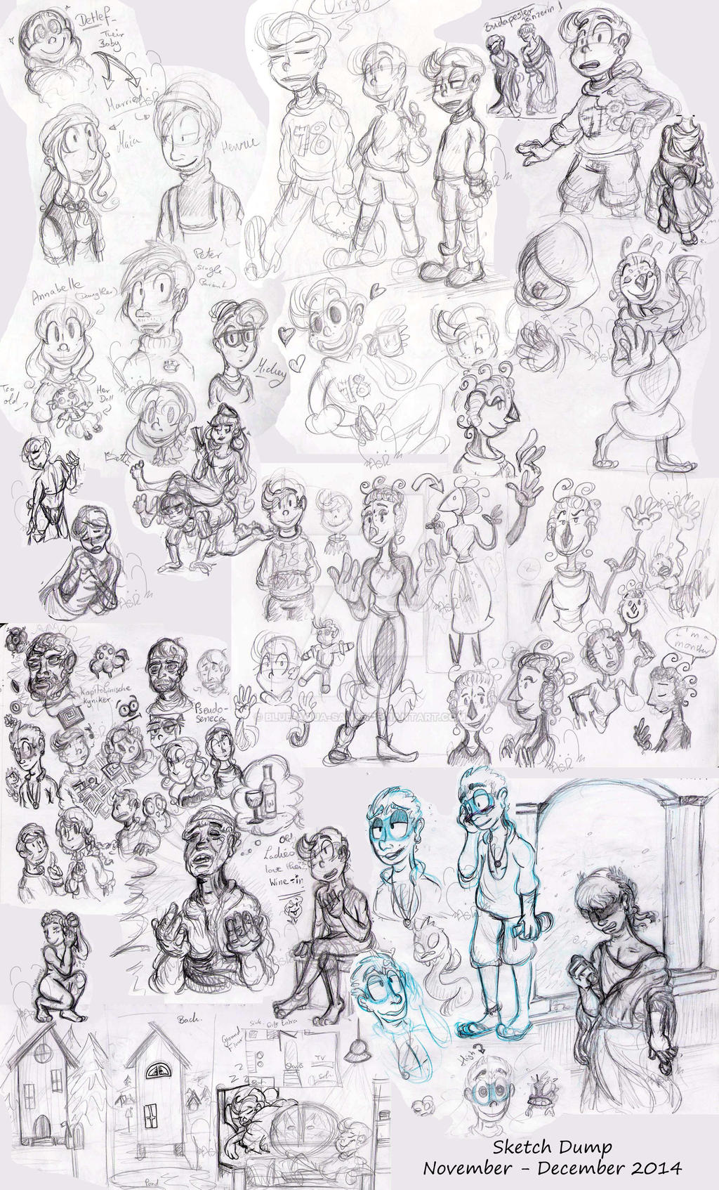 Sketch dump November-December 2014 by Blue-Aqua-san95