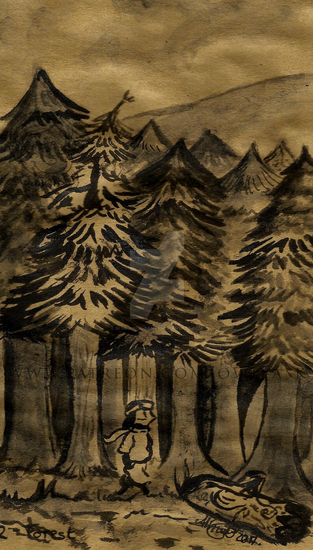 Inktober 2017 - #2 Forest by Blue-Aqua-san95