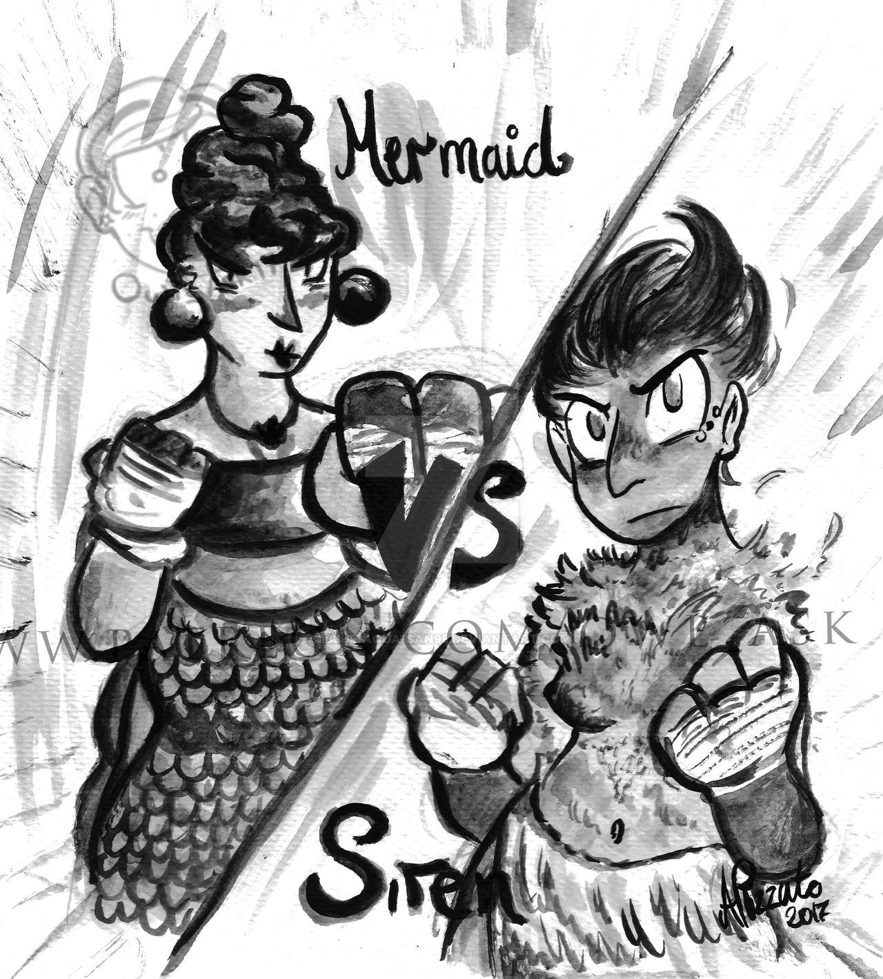 Inktober 2017 - #17 Mermaid VS Siren by Blue-Aqua-san95