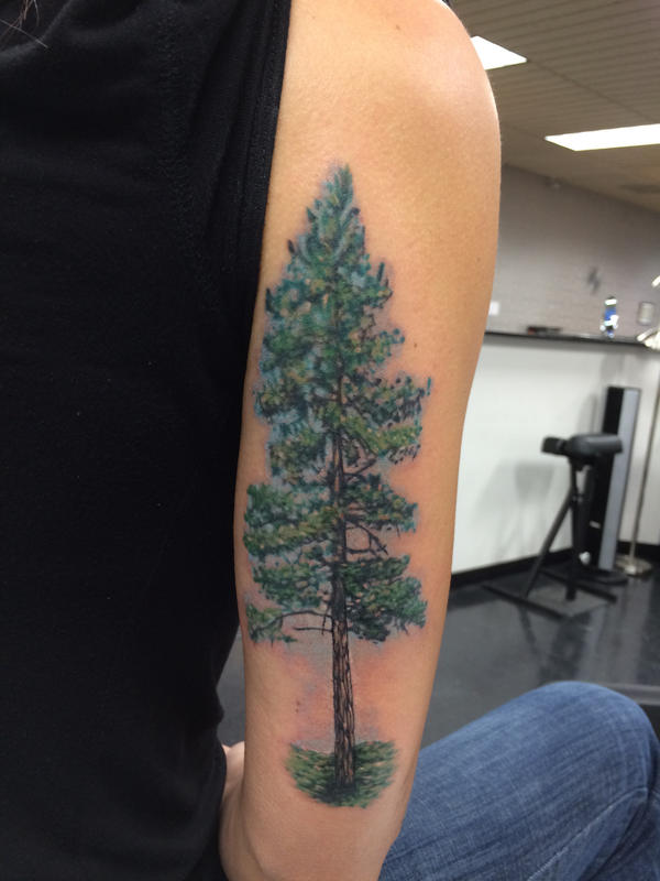 Happy tree by adammdesigns on deviantart for Ponderosa pine tattoo