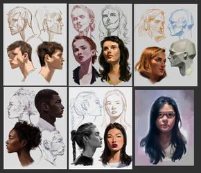 Heads [10/100] by merillizaART