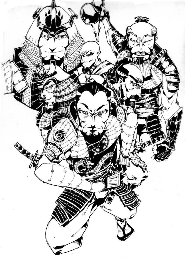 Six bearded samurai by grimsbloodmoon