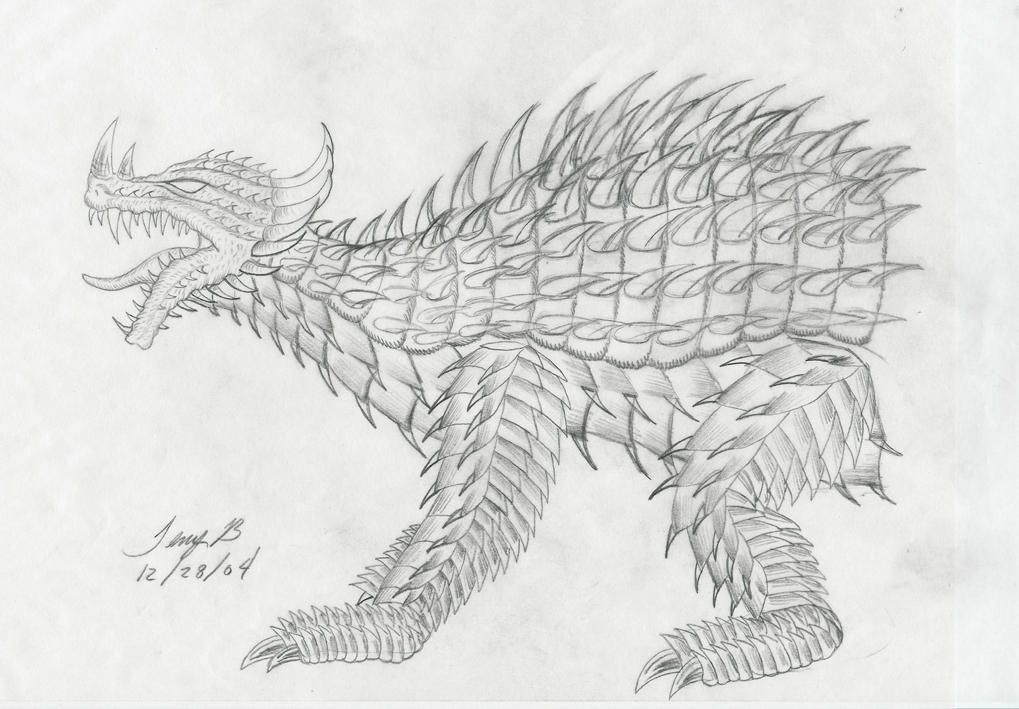 anguirus concept drawing by forktail on deviantart