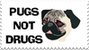 Pugs Not Drugs Stamp by RosiesAnimalHouse