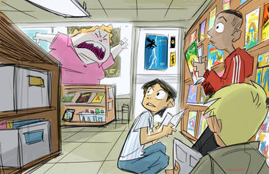 NO READING IN THE COMIC SHOP by BobbyRubio