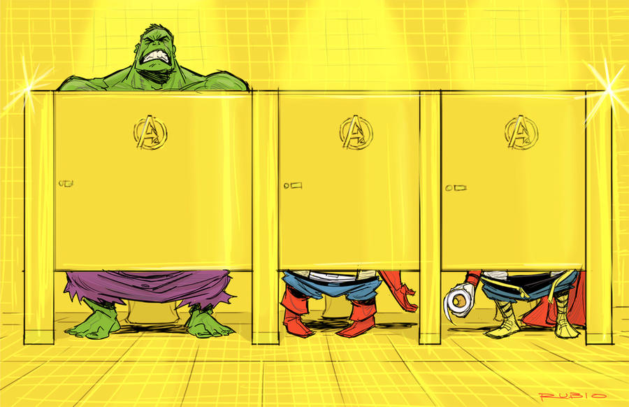Avenger's Mansion bathroom by BobbyRubio