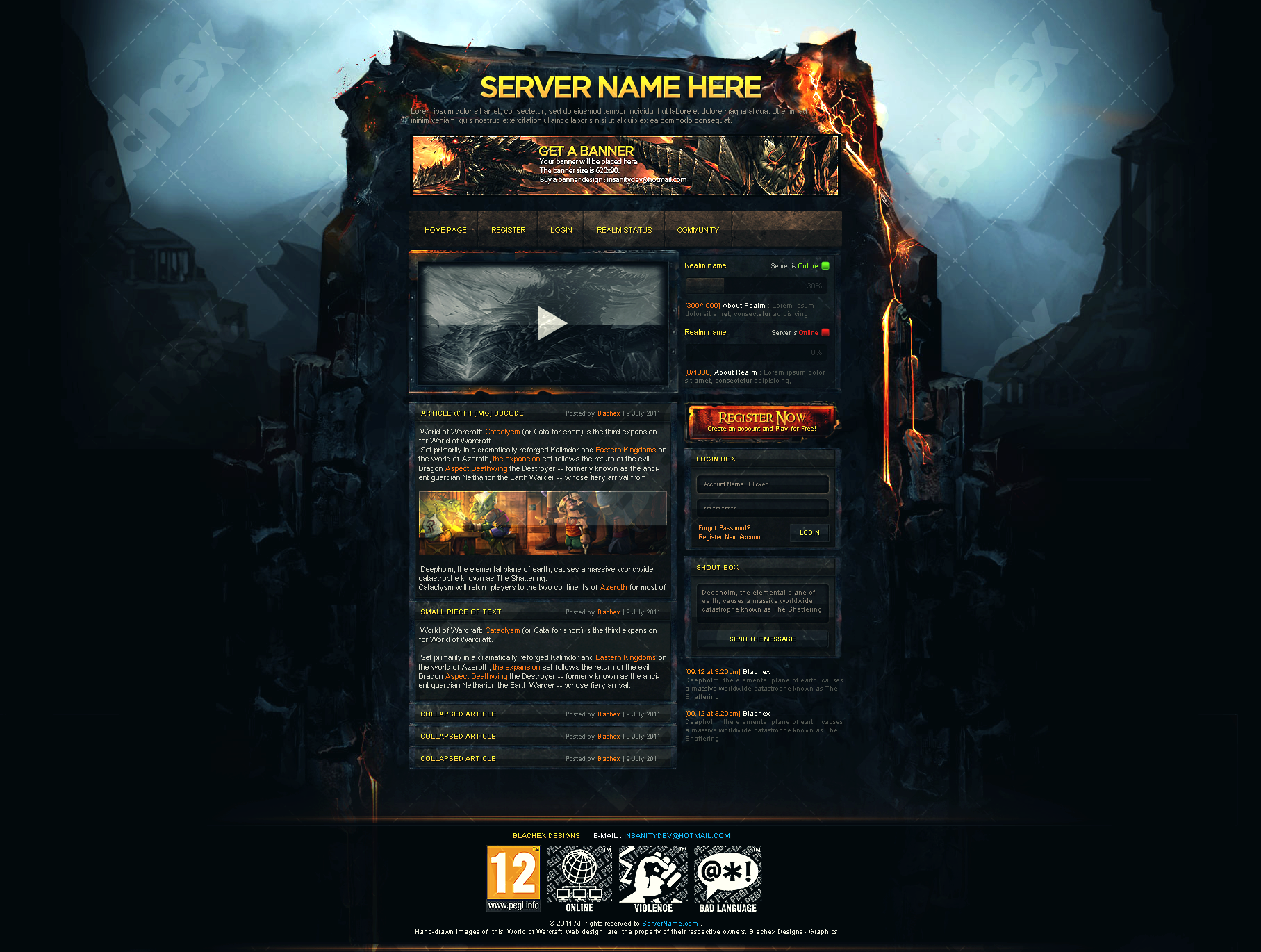 Gaming Web Templates. game website template dark and edgy this ...