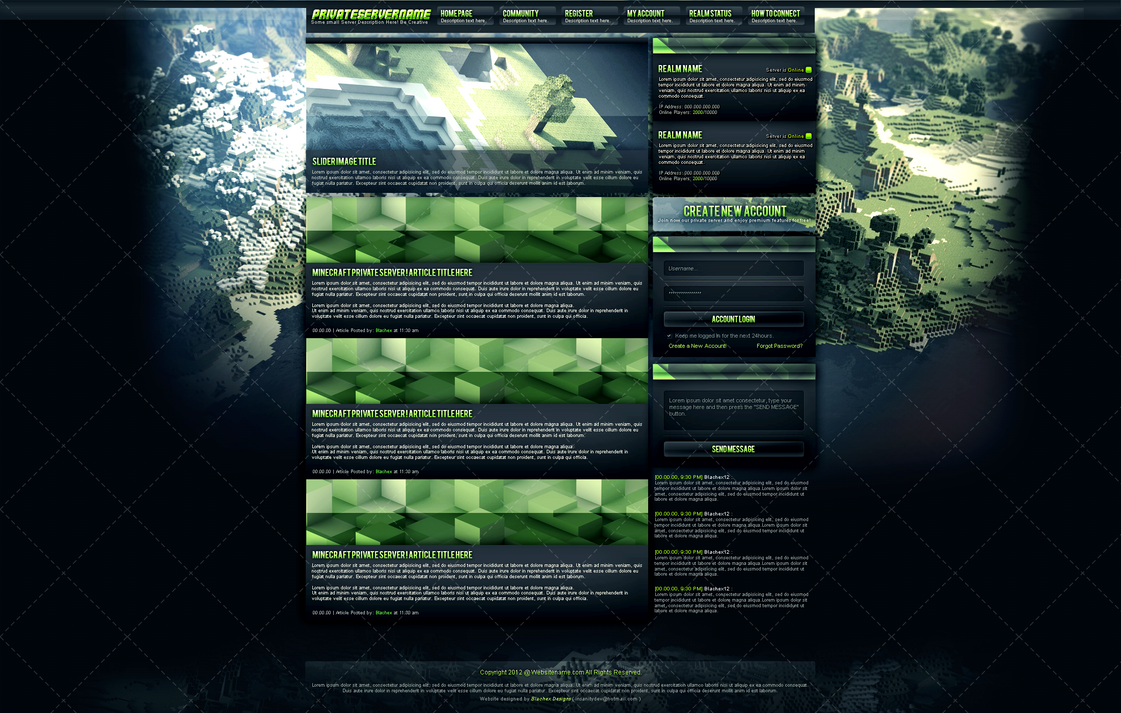 Minecraft Gaming   Website Template  Sell  by InsDev on DeviantArt GVVsMSxb