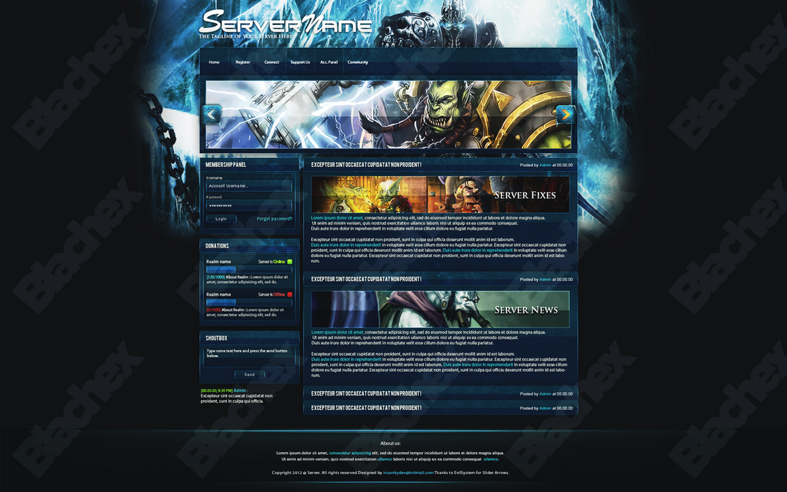 WOTLK Website Template for SALE! by InsDev on deviantART: insdev.deviantart.com/art/wotlk-website-template-for-sale-307465040