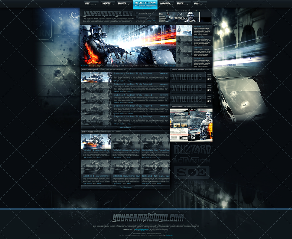 Gaming community website template by insdev on deviantart for Homepage shop