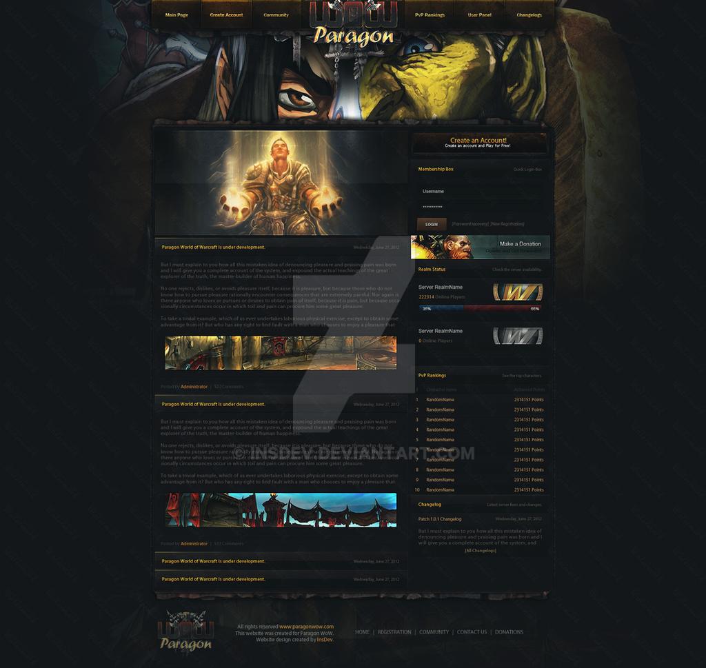 Paragon World Of Warcraft Psd Website Design By Insdev