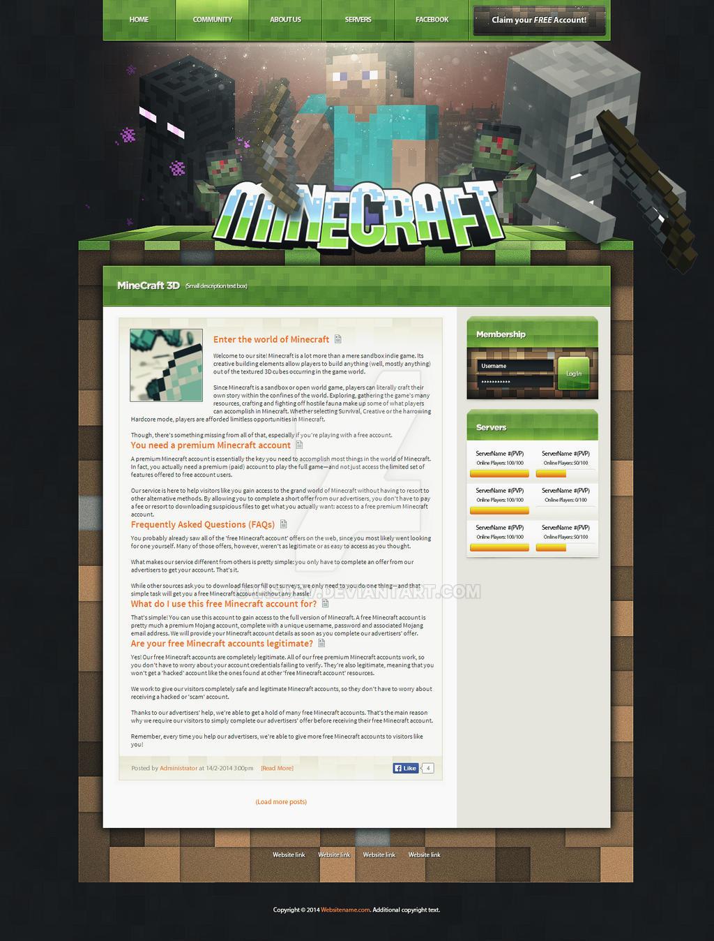 Minecraft 3d Site Web Design By Insdev On Deviantart