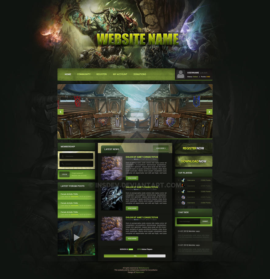 world of warcraft green web template for sale by