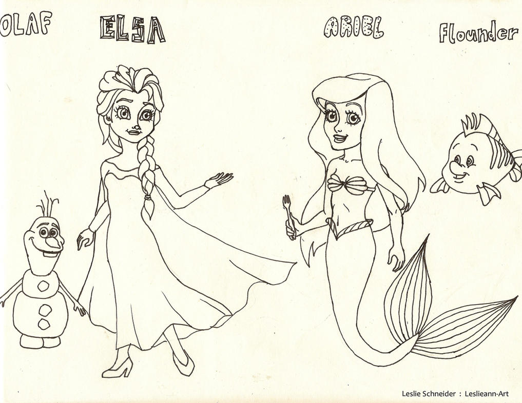 Elsa, Ariel, and Friends Coloring Page by Leslieann-Art on ...