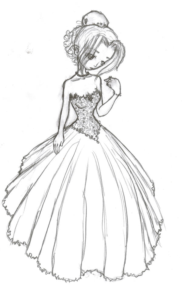 how to draw a girl in a wedding dress