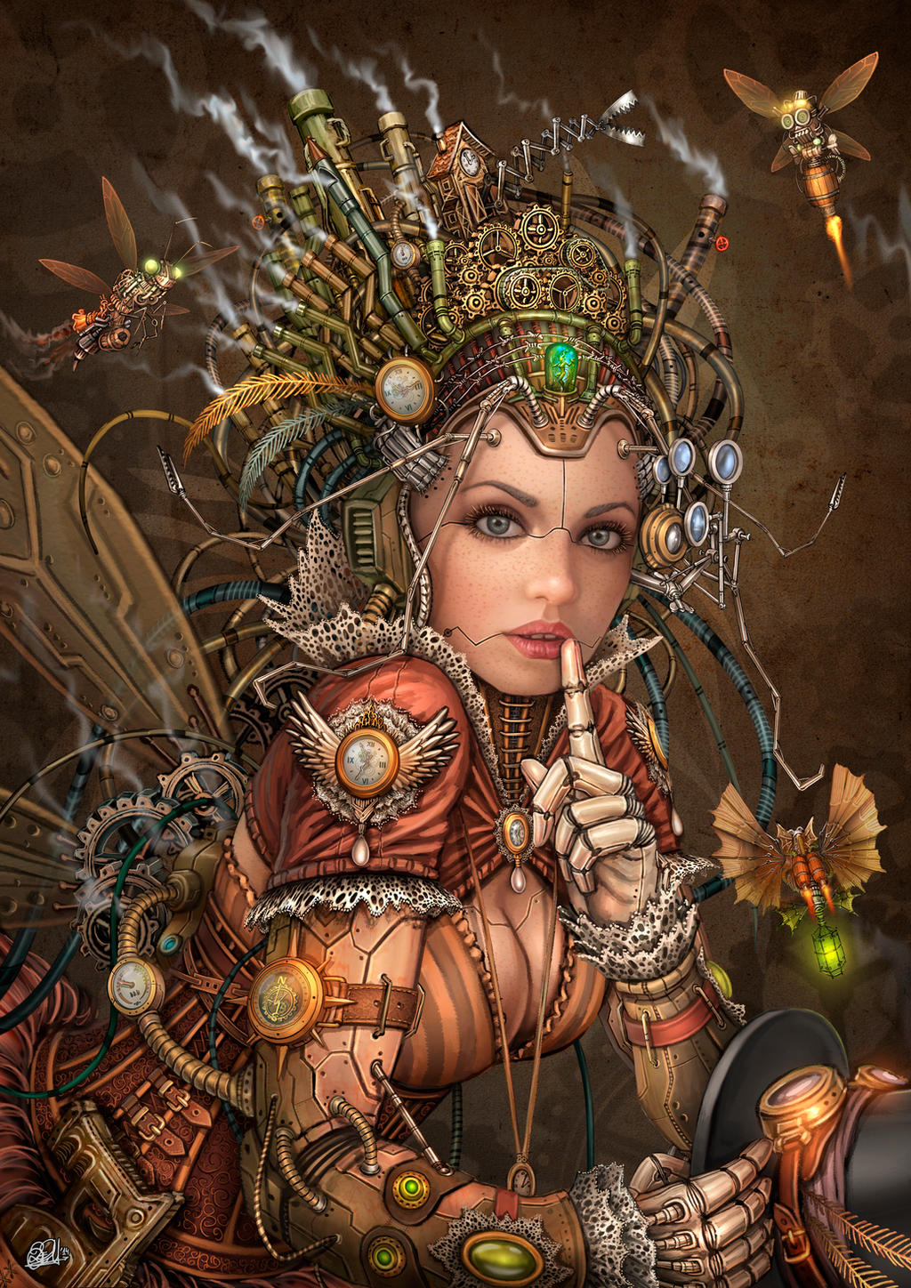 Silence Please - Steampunk Fairy by DarkAkelarre