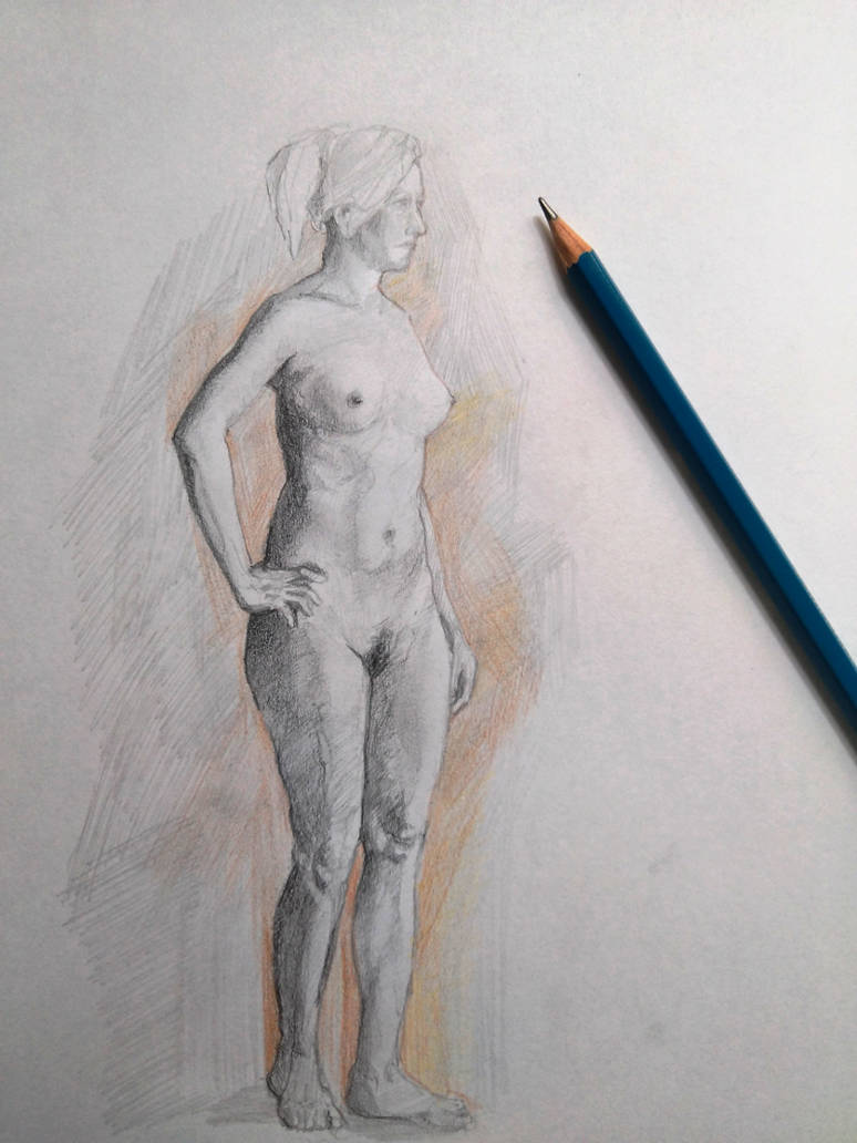 Figure drawing with pencil by couleursdether