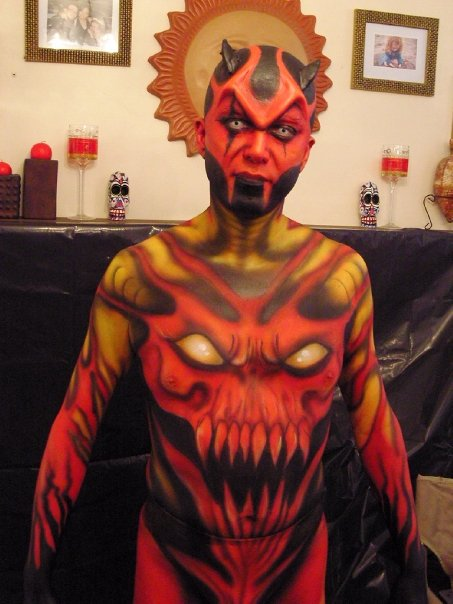 Orange Body Paint Hell Body Painting by