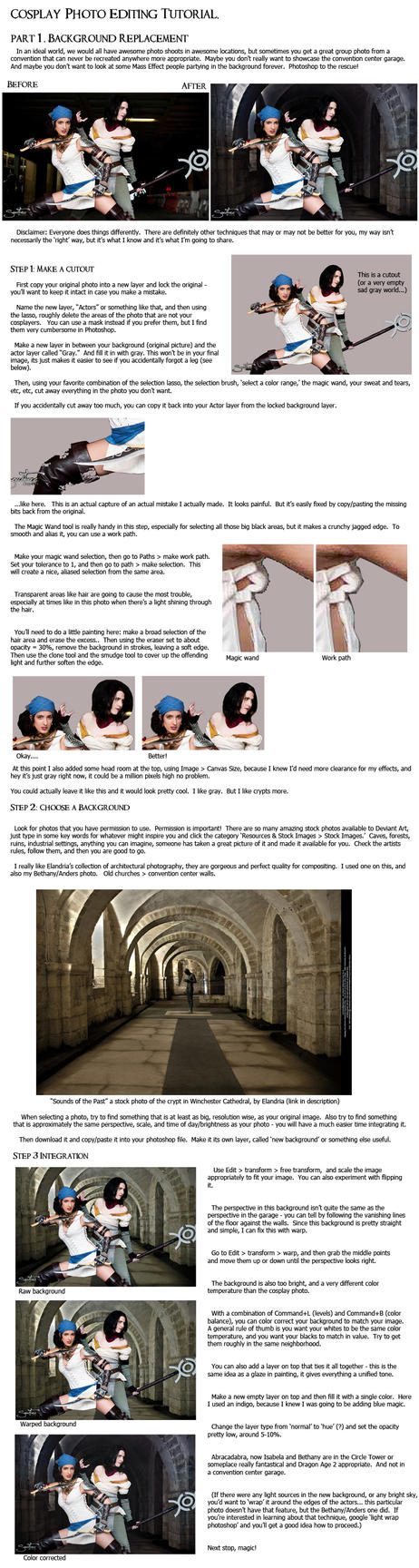 Cosplay PS Tutorial, p1: Background Replacement by jancola