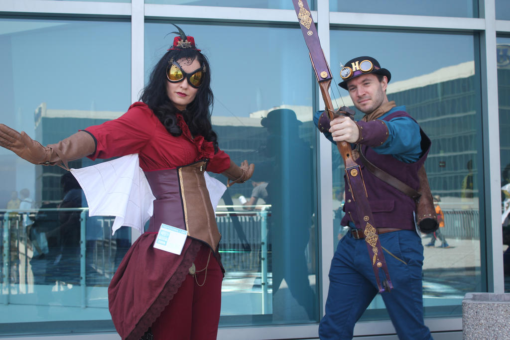 Clint and Jess, steampunk style by jancola