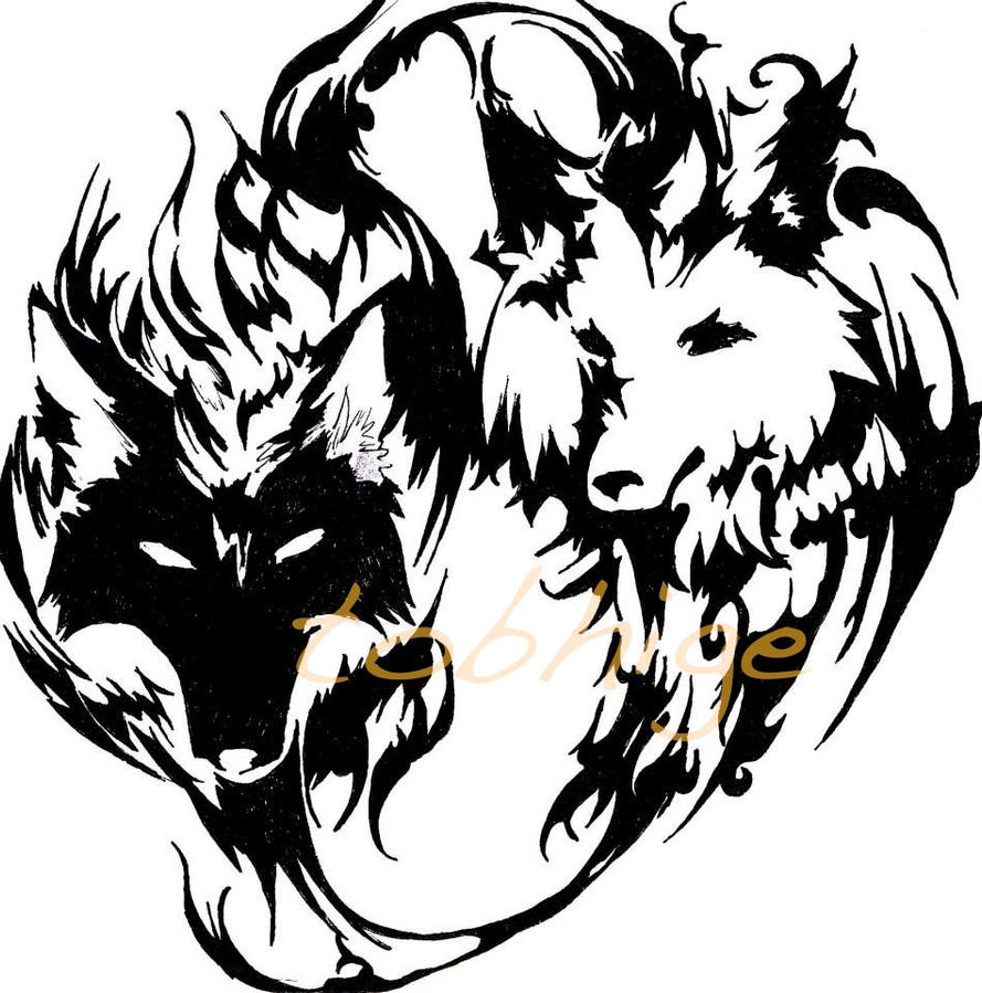 Ying yang wolf tattoo by tobhige on deviantart for Freedom tribal tattoos