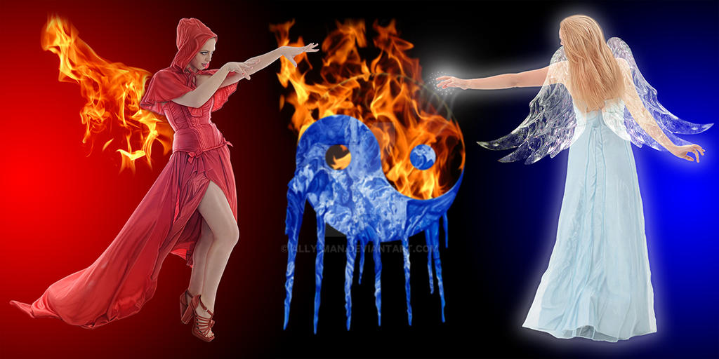 Fire And Ice Yin Yang Fire Fairy Ice Fairy By Ally Man On Deviantart