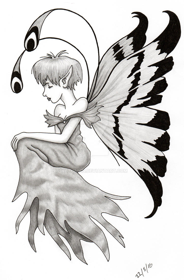 Fairy 001 pencil sketch pen and ink by ally man