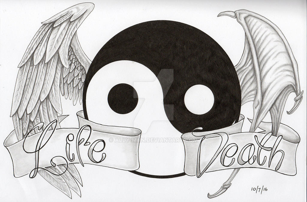 0b0051345 Life and Death 3 Angel Demon wings tattoo yin yang by Ally-man on ...