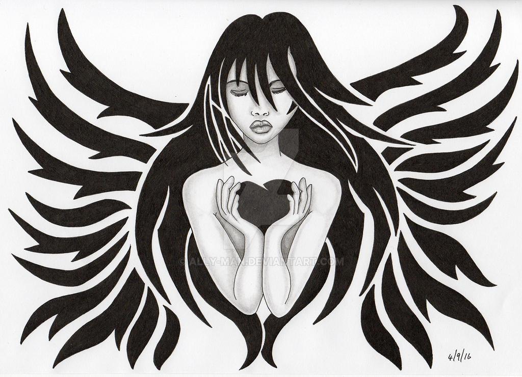 b22e7df9f Female tribal Angel 01 Tattoo idea by Ally-man on DeviantArt