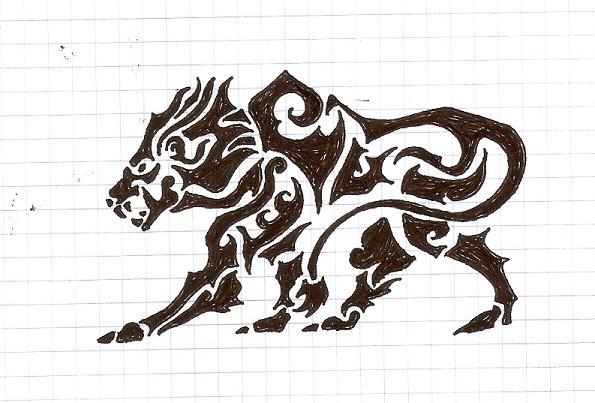 Tribal Lion Drawings
