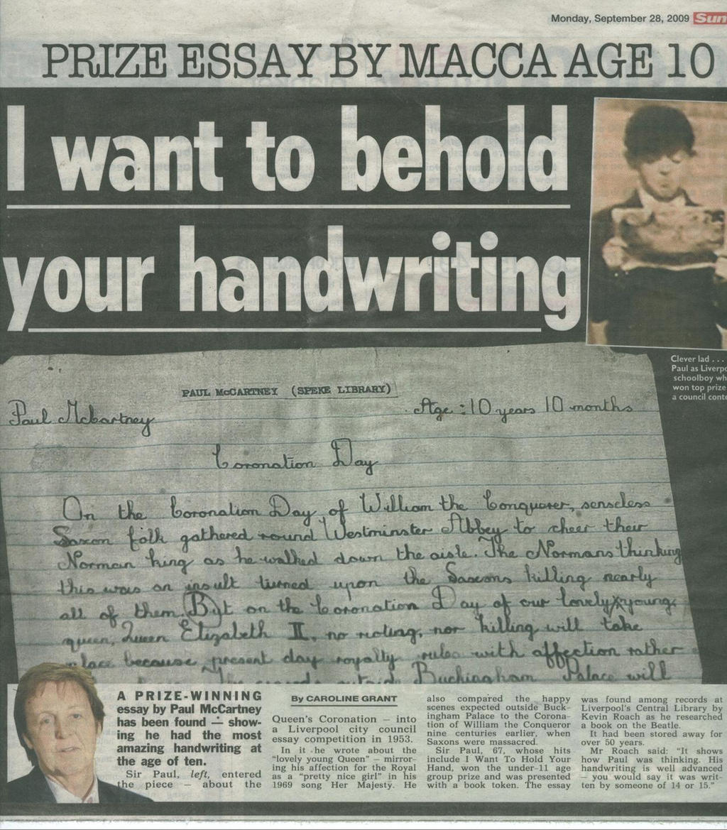 paul mccartney essay Schoolboy essay: paul mccartney wrote the prize-winning piece in 1953, a year after this picture was taken.