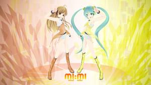 MIMI -Mirai and Miku- Wall by saiki2