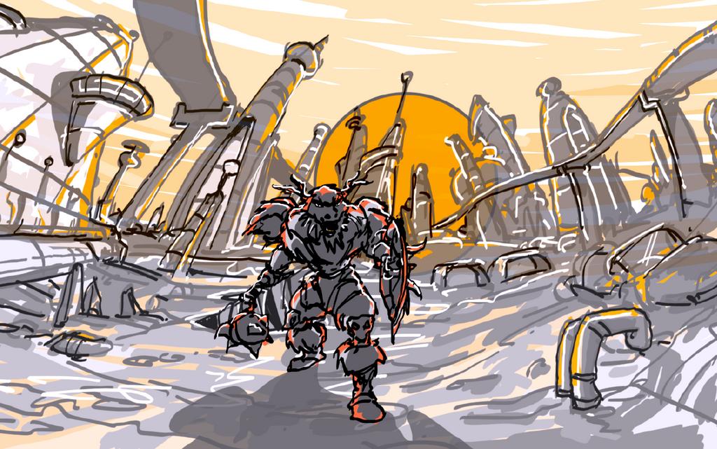 Vissorith in Maene City (Sketch) by Carwailea