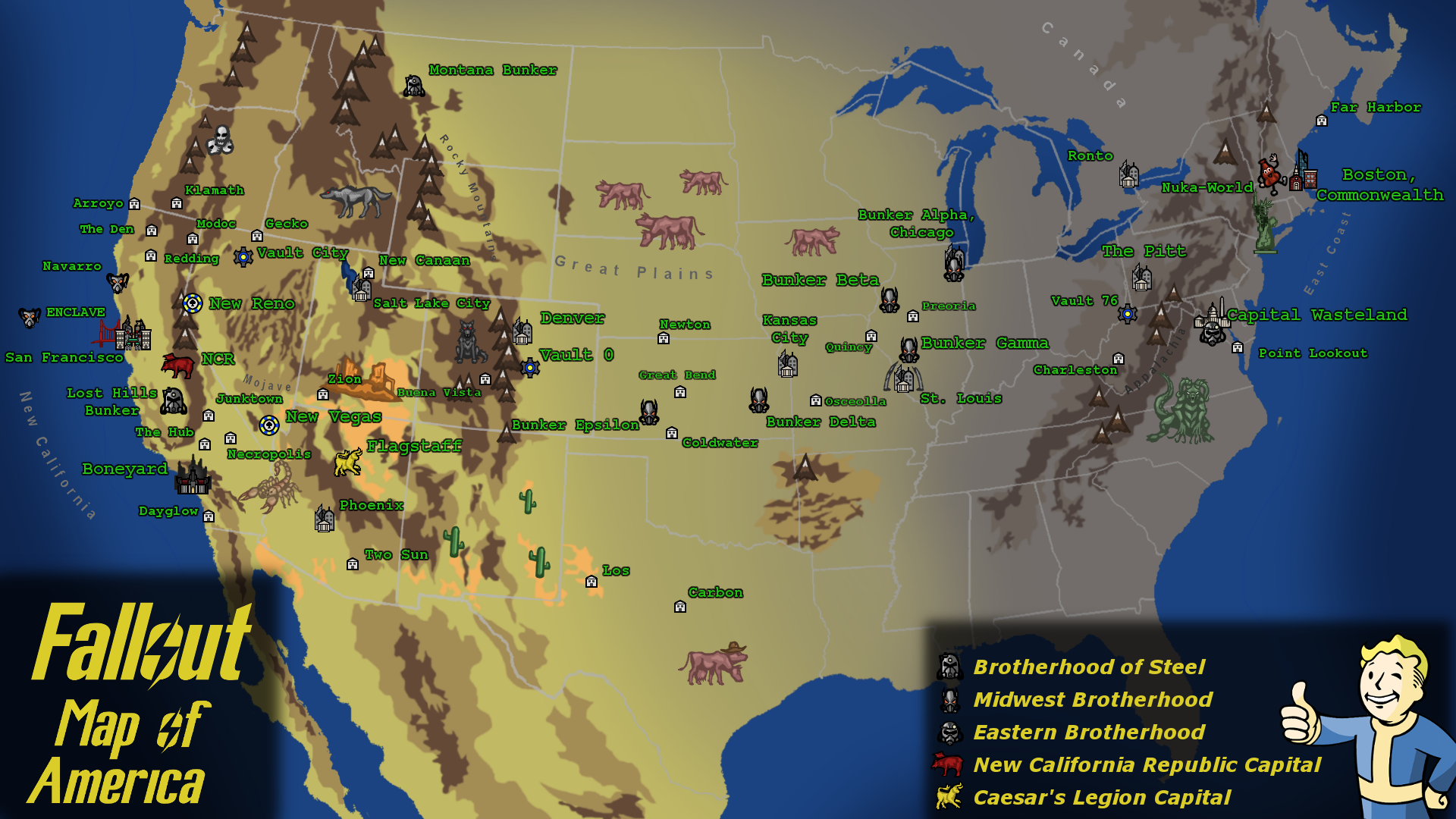 fallout united states map Fallout Map of America by CrassiusCurio94 on DeviantArt