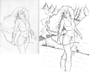 Merida - Sketch and final lines side by side by gregscottbailey